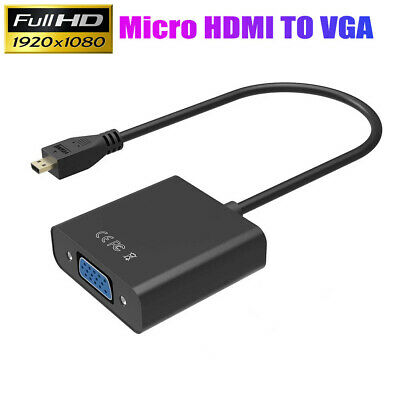 AU8.46 • Buy Micro HDMI Type D Male To VGA Female Converter Adapter Cable 1080P HD + Audio AU
