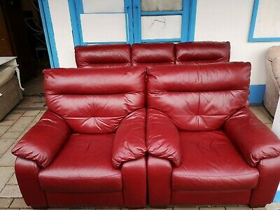 Red Leather Good Quality 3 Piece Suite • 250£