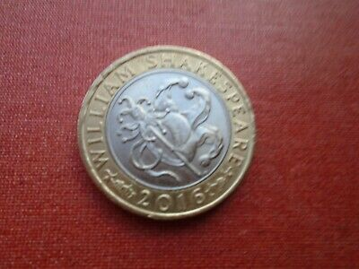 SCARCE 2016 WILLIAM SHAKESPEARE TWO POUNDS JOKER COIN In GOOD CONDITION • 2.60£