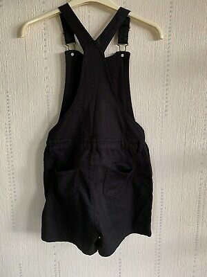 M&S Black Cotton Dungarees Shorts Age 11-12 Years • 6£