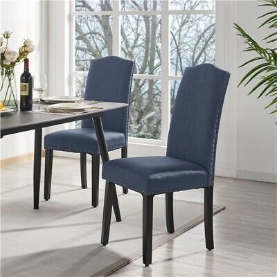 £76.99 • Buy Fabric 2pcs Dining Chairs Kitchen Chair With High Back Soft Padded Seat For Home