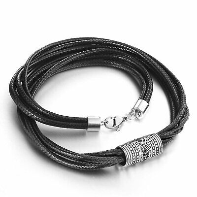 Stainless Steel Evil Eyes Cylinder Black Layers Wax Line Choker Necklace Men • 7.99£