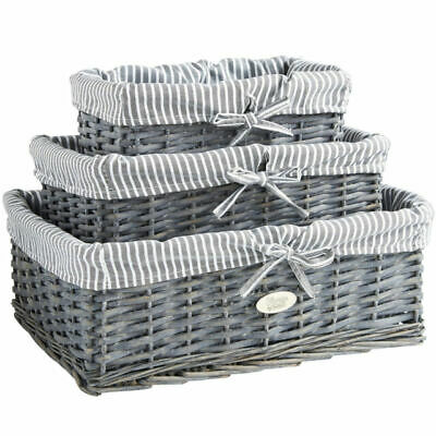 Set Of 3 Grey 100% Wicker Storage Baskets With Removable Striped Lining • 14.99£