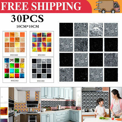 30Pc Kitchen Tile Stickers Bathroom Mosaic Sticker Self-adhesive Wall Home Decor • 6.29£