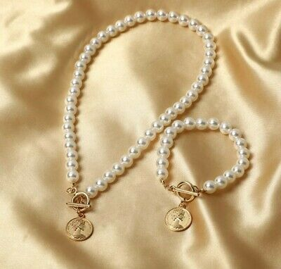 £12 • Buy Pearl Necklace Bracelet Set With Coin Pendant Birthday Christmas Gift 190