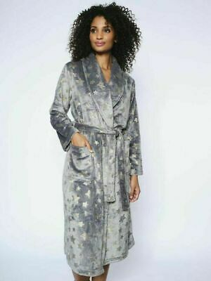 Ann Summers Sparkle Star Robe Grey Fluffy Dressing Gown Size Xlarge (20/22) • 32.50£