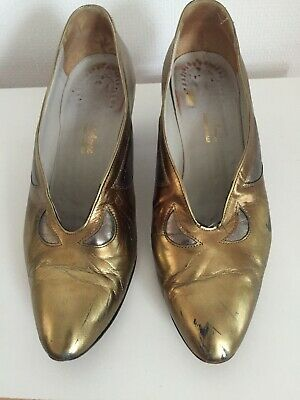 Vintage Metallic Bronze And Pewter-Coloured Leather Shoes, Size 6.5 • 7.99£