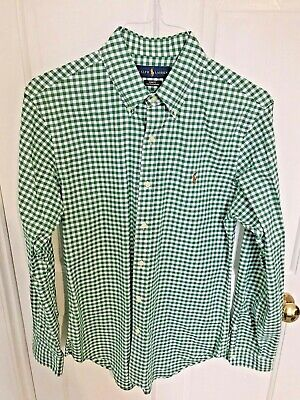 Ralph Lauren Mens Green Gingham Check Long Sleeve Shirt - Slim Fit - Size Medium • 10.50£