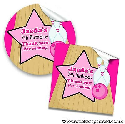 Personalised Birthday Stickers Thank You Labels Party Girls Bowling • 2.40£