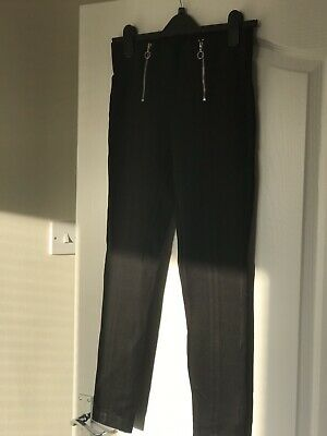 Zara Trafaluc Collection Black Thick Leggings With Exposed Zips, Size Eur L (12) • 4£