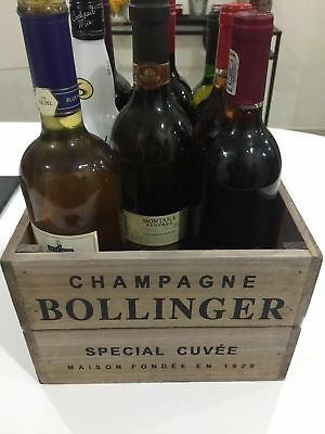Vintage Style Wooden Bollinger Champagne Wine Crate Box Storage Shabby Chic • 20.95£