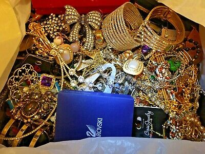 $ CDN101.58 • Buy 18 Lbs Lot LARGE Flat Rate Box Of Vintage To Now Jewelry Includes Signed Pieces