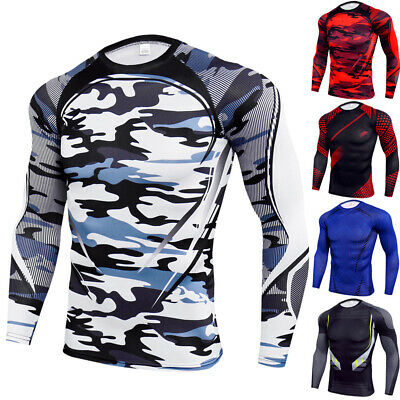 Mens Compression Base Layer Tops Gym Sports Fitness Long Sleeve Shirts Blouse • 9.39£