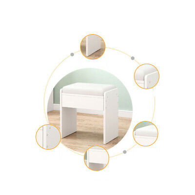 Dressing Stool Piano Stool Soft Makeup Bench Cushioned Chair Padded Seat White • 17.89£