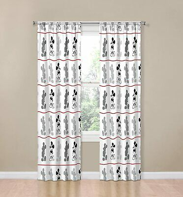 Window Curtain Panels Disney Mickey Mouse Jersey White 4 Piece 84 Quot; /Drapes • 15.63£