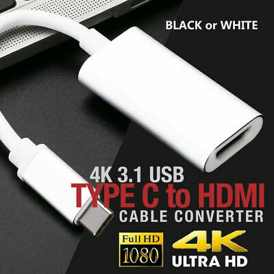 AU11.99 • Buy 4K 3.1 USB Type-C To HDMI Adapter Black/White Cable Converter For MacBook Galaxy