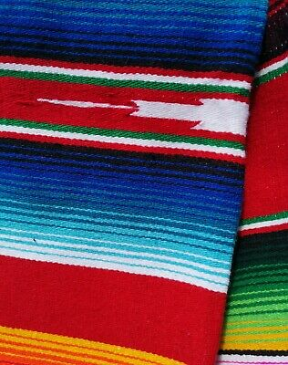 Authentic LG Mexican Serape Blanket Cotton Mix Picnic Throw Hot Rod RED • 43£