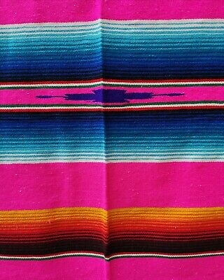Authentic LG Mexican Serape Blanket Cotton Mix Picnic Throw Hot Rod HOT PINK • 43£