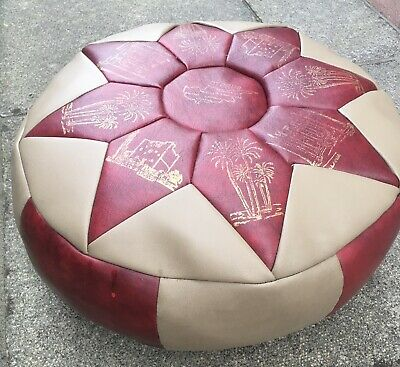 Vintage Footstool Pouffe Round Patchwork Faux Leather • 25£