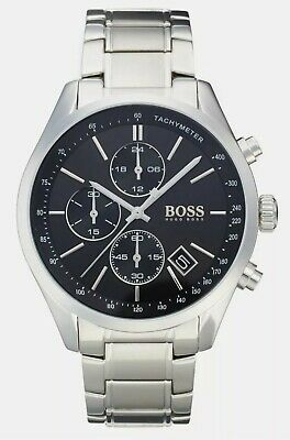 Hugo Boss HB1513477 Mens Grand Prix Black Dial Silver Bracelet Chronograph Watch • 36£