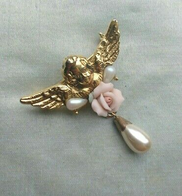 Gold Tone Cherub Brooch With Pink Porcelain Rose & Faux Tear Shaped Pearls • 6.99£