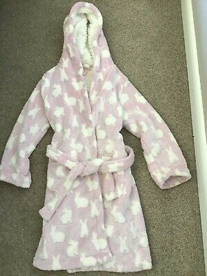 Debenhams Blue Zoo Girls Plush Dressing Gown Pink And White Size 8-9 Years • 2.99£