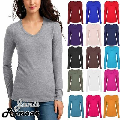 Womens V Neck Long Sleeve T-Shirt Stretchy Plain Jersey Casual Basic Tee Tops • 3.99£