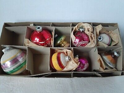 $ CDN4.96 • Buy Vintage Shiny Brite Glass Christmas Ornaments- Mixed Box Of 8- Mica, Stencil