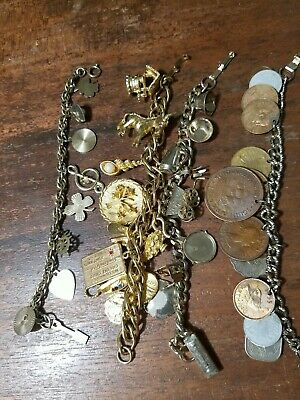 $ CDN9.20 • Buy Lot Of Four Vintage Jewelry Collection  Charm Bracelets Necklace Unique Must See
