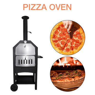 Outdoor Steel Pizza Oven Wood Fired BBQ Grill Charcoal Barbecue Portable Cooker • 62£