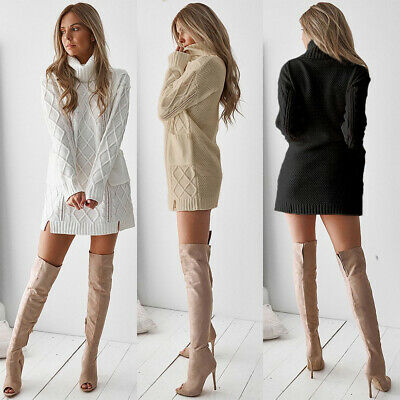 Womens Cable Knit Sweater Mini Dress Ladies High Neck Winter Pullover Dresses • 15.59£