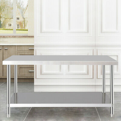 Modern Kitchen Prep Table Stainless Steel Shelf Storage Utility Top Commercial • 167.94£
