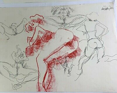 Peter Collins RCA Signed Oil Pastel Pencil Drawing Female Nude Multi Poses 1988 • 24.95£