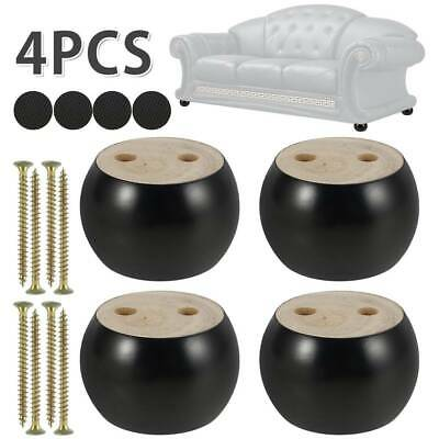 4x Furniture Legs Wooden Sofa Legs Round Bun Feet Replacement Bed Cabinet Couch • 10.99£
