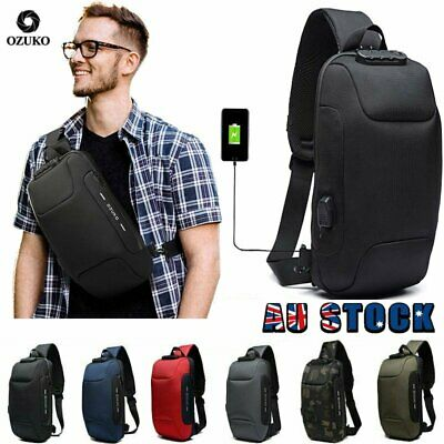 AU30.99 • Buy OZUKO Mens Anti-theft Lock Shoulder Chest Bag Oxford Travel Backpack With USB