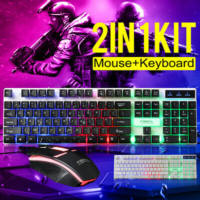 AU19.89 • Buy Gaming LED Keyboard&Mouse Set Rainbow USB For PC/PS4/Xbox One/360/Laptop Wired