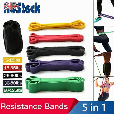 AU38.99 • Buy Set Of 5 Heavy Duty Resistance Yoga Bands Loop Exercise Fitness Workout Band Gym