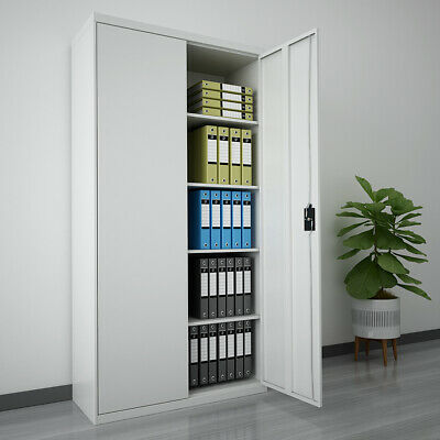 Office Storage Lockable Cupboard 180cm Filing Cabinet Steel Metal Light Grey Key • 82£