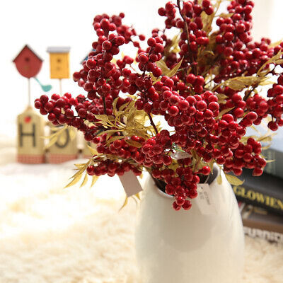 Christmas Artificial Flower Pine Berry Cone Branches Red Fruit Party Decor DIY  • 2.59£