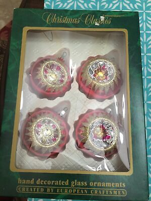 $ CDN17.17 • Buy 4 - Vintage Christmas Ornaments- Indent Glass Hand Painted- Made In Romania