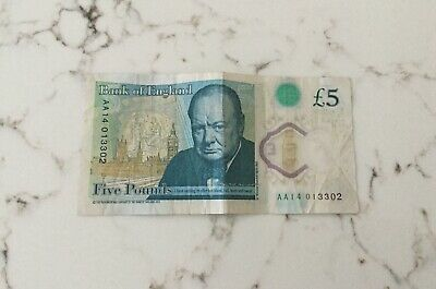 AA14 *RARE* £5 Note - Low Serial Number Five Pound Note • 100£