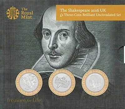Royal Mint Shakespeare Set Of 3 X £2 Coins 2016 Bu In Sealed Pack • 36.99£