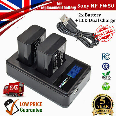 2x  1500mAh NP-FW50 Battery +Dual Charger For Sony Alpha A3000 A6300 A6000 A6500 • 16.99£