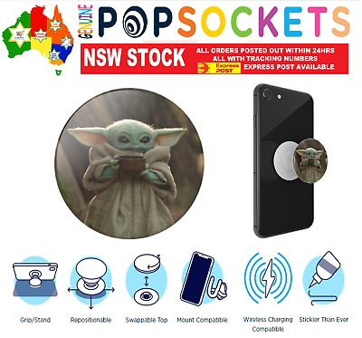 AU24.50 • Buy PopSockets Grip Pop Socket Star Wars Baby Yoda Cup Stand Phone Holder Car Mount