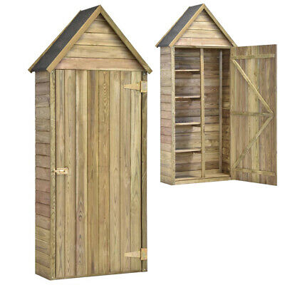 Wooden Garden Shed Wood Outdoor Tool Storage Sentry Box With 4 Storage Shelves • 177.13£