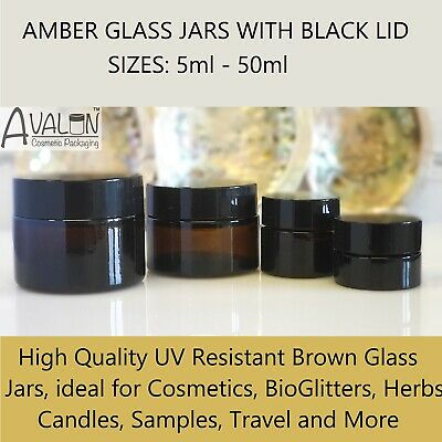 Brown Glass Cosmetic Jars Black Lid 5ml - 50ml Empty Squat Pots Candles Herbs • 14.99£