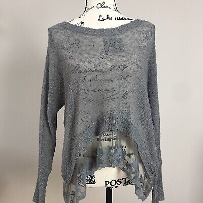 $34.99 • Buy Millau Lf Stores Gray Embroidered Lace Trim Loose Weave Sweater Small