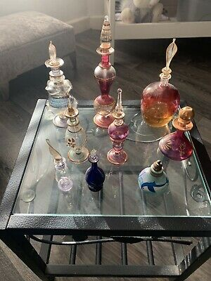 Vintage Glass Perfume Bottles X 8 Decorative Bottles With Stoppers • 17.99£