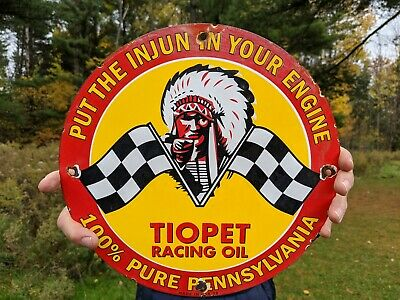 $ CDN1.32 • Buy Old Vintage 1929 Tiopet Indian Racing Oil Gasoline Porcelain Gas Station Sign