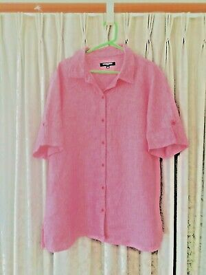 AU10 • Buy Size 18, The Clothing Company, Red Striped Linen Shirt